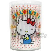 〔小禮堂〕Hello Kitty 螺旋棉花棒《圓罐.點點.側坐》100支入  4525636-23828