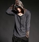 找到自己 韓國潮流 個性 拼接 連帽 豹紋 時尚 街頭潮男 夜店 DJ 發型師 必備 長袖T恤 特色長T