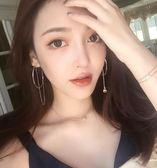 不對稱耳環女氣質韓國個性百搭歐美夸張耳墜長款潮人網紅簡約耳圈   提拉米蘇