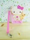 【震撼精品百貨】Hello Kitty 凱蒂貓~KITTY車票套附鍊-粉抱熊