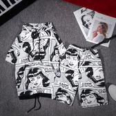 夏季街頭潮流漫畫連帽短袖男女情侶原宿嘻哈街舞韓版寬鬆T恤套裝   酷男精品館