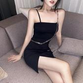 抹胸式鏈條吊帶連身裙女夏2020新款性感緊身包臀裙子氣質黑色短裙 雙11提前購