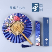 古風櫻花團扇日式和風圓形小扇子隨身可愛便攜折疊扇女式漢服折扇 茱莉亞