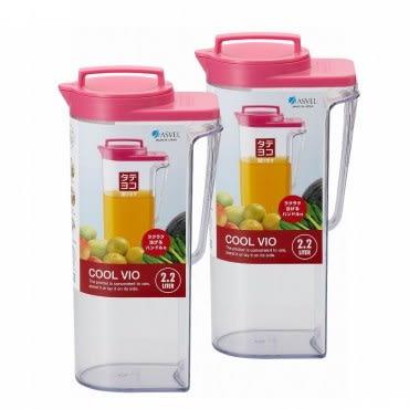 【促銷】日本製造ASVEL可倒放2200cc非玻璃冷水壺(桃紅色)2入特惠組