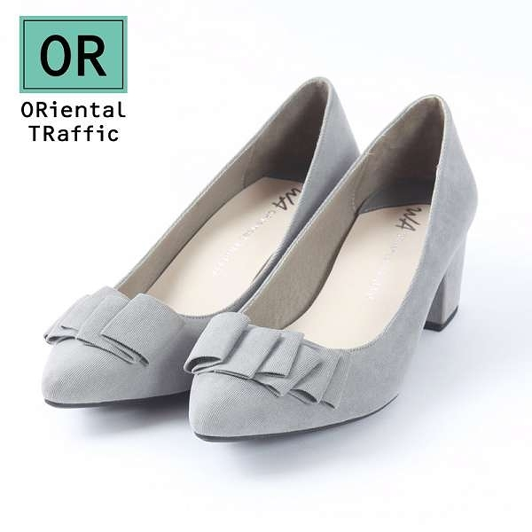 【ORiental TRaffic】氣質優雅緞帶中跟鞋-氣質灰