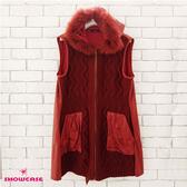 【SHOWCASE】毛領造型連帽波浪織紋長版針織背心(紅)