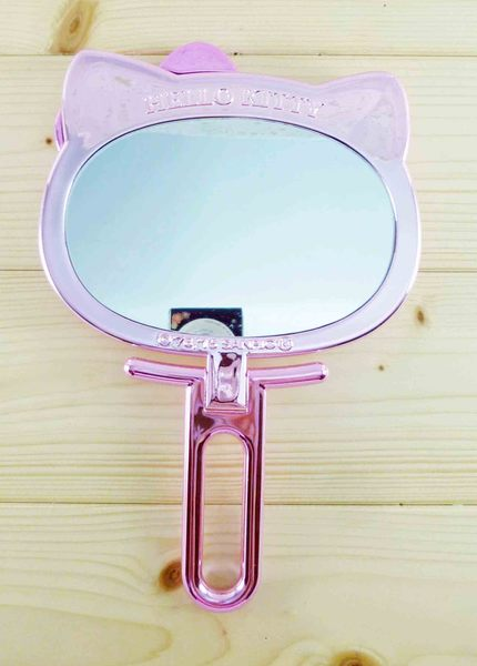 【震撼精品百貨】Hello Kitty 凱蒂貓-KITTY手拿折鏡-亮鑽圖案-粉桃色