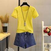 現貨出清春夏新款打底衫女修身短款上衣韓版短袖T恤冰絲針織衫薄毛衣「夢娜麗莎精品館」