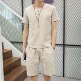 夏季男士中國風棉麻短袖短褲家居服睡衣亞麻套裝夏天居家服兩件套