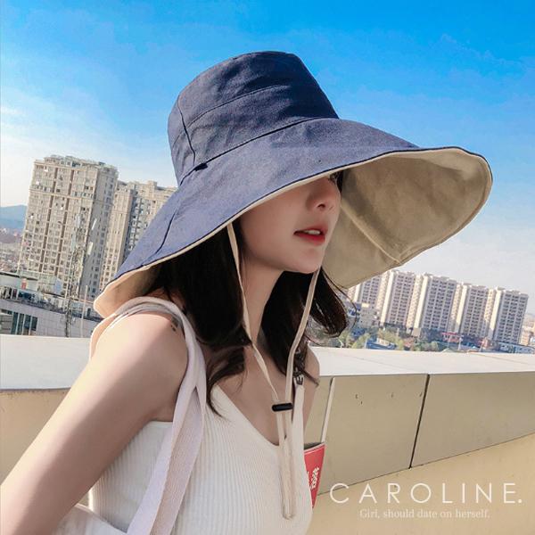 《Caroline》夏天防曬遮陽造型時尚設計雙面大帽檐太陽帽71376