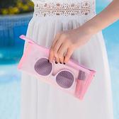 ✭慢思行✭【G66-2】長款網格純色收納包  防水 洗漱袋 牙膏 化妝包 筆袋 洗漱包 網眼 整理 出國