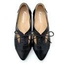 karine(MIT台灣製)全真皮尖頭綁帶內增高牛津鞋-黑色