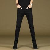 牛仔褲 黑色男士牛仔褲修身小腳加厚土韓版潮流夏季款緊身男褲子
