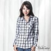 Victoria 格紋基本長袖襯衫-女-粉格/白底黑格