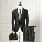 西裝套裝 結婚禮服 正韓男士商務正裝職業裝韓版修身黑色西裝【搶滿999立打88折】