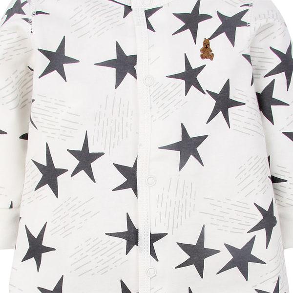 男Baby男童長袖連身衣白色雙層棉連身衣可愛五角星印花厚棉連身衣現貨歐美品質