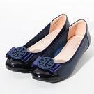 ★新品上市★GREEN PINE 舒適通勤圓飾扣柔軟娃娃鞋-藍色