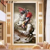 歐式油畫玄關背景墻布3D立體豎版走廊裝飾壁紙過道玄幻壁畫