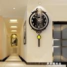 新中式鐘表掛鐘客廳現代簡約創意個性時尚中版風靜音大氣家用時鐘 果果輕時尚