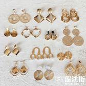 耳環 復古簡約設計感金屬幾何圓形螺紋纏繞夸張耳墜女 魔法街