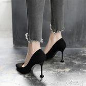 高跟鞋 貓跟鞋女尖頭細跟韓版高跟鞋百搭中跟黑色少女單鞋秋【小天使】