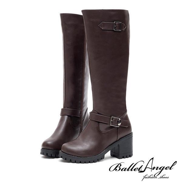 長靴 俐落風采雙皮帶美型長筒靴(咖) *BalletAngel【18-1782co】【現貨】