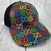 BRAND楓月 GUCCI 古馳 601253 黑底 彩色GG紋 透氣網布材質 鴨舌帽 棒球帽 遮陽帽 日常穿搭