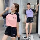 2020運動套裝女夏瑜伽服速干學生跑步健身服寬鬆大碼網紅兩件套潮