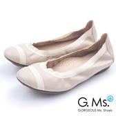 G.Ms.* MIT系列-織帶拼接羊皮娃娃鞋*氣質杏