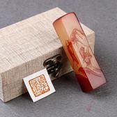 訂製壽山石篆刻印章石料紅色博弈印章書畫姓名印章閒章手工包刻字2cm  朵拉朵衣櫥