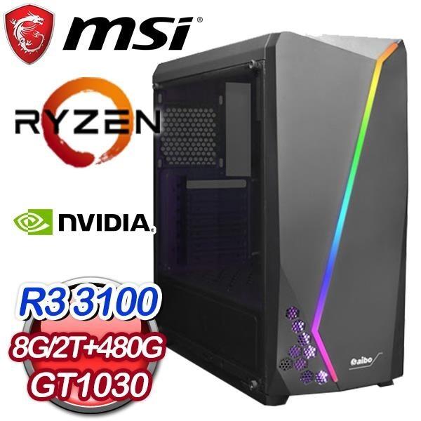 【南紡購物中心】微星系列【烈炎流星】AMD R3 3100四核 GT1030 電玩電腦(8G/480G SSD/2T)