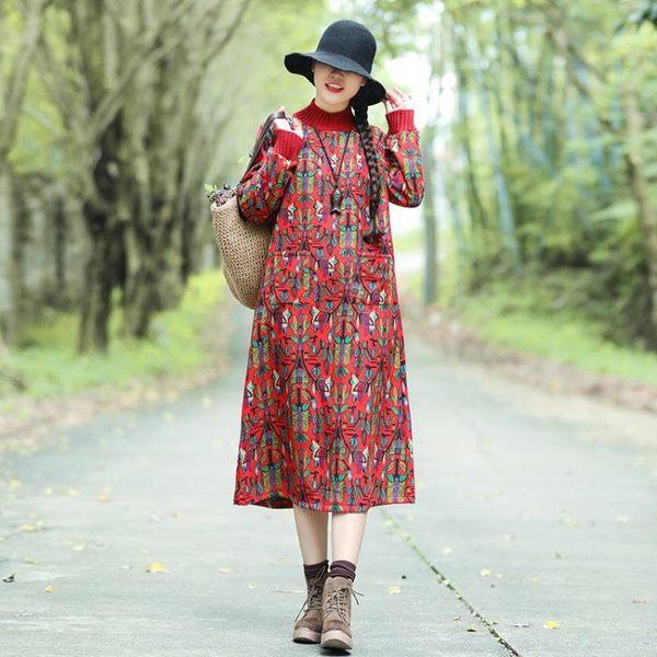 【免運】年棉麻大尺碼寬鬆韓版印花高領加絨加厚中長款連身裙洋裝 隨想曲