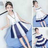女童露肩連身裙洋裝夏季女孩一字肩時尚洋氣兒童裙子雪紡公主