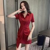 酒紅色洋裝 法式復古連身裙夏裝女氣質收腰顯瘦優雅包臀翻領襯衫裙潮-Ballet朵朵