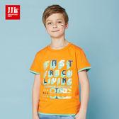 JJLKIDS 男童 美式刷色字母撞色摺袖 短袖上衣 T恤(橙色)