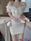 一字領連身裙 一字肩泡泡袖連身裙女夏季高腰顯瘦短袖白色短裙子氣質新款a字裙 寶貝計畫 618狂歡