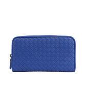 【BOTTEGA VENETA】小羊皮ㄇ型拉鏈長夾(靛藍色)114076 V001N 4234