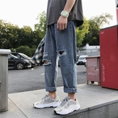 直筒褲男生褲子原宿風潮流牛仔褲韓版寬鬆直筒乞丐褲秋季破洞九分褲