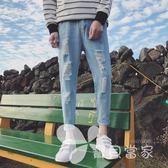 2018夏季新款九分牛仔褲破洞修身韓版潮流男士乞丐褲直筒薄款小腳