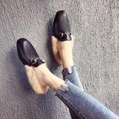穆勒鞋 毛毛拖鞋女新款韓版外穿時尚半拖懶人社會包頭平底穆勒鞋 ZQ1909『夢幻家居』