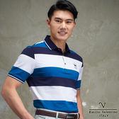 Emilio Valentino深藍經典時尚休閒海洋風POLO衫 藍/白