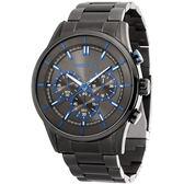 【台南 時代鐘錶 POLICE】義式潮流 經典品味三眼計時腕錶 15001JSU-61M 黑鋼 45mm