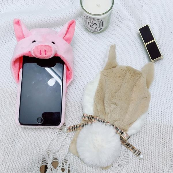Free Shop 蘋果 iPhone X/XR/XS MAX/8/7/6 s Plus 賣萌毛絨帽帽蘋果手機保護殼【QCMO30066】