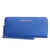 MICHAEL KORS Jet Set 立體金屬LOGO防刮皮革長夾(湛藍色)618066-19