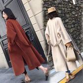 24H 赫本風毛呢大衣女中長款流行廓形過膝呢子外套