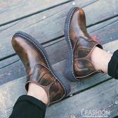 秋季高筒鞋男鞋切爾西皮鞋男中筒男士英倫潮流馬丁靴韓版短靴-Ifashion
