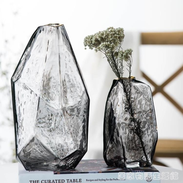 不規則幾何日式錘紋手工玻璃花瓶 輕奢描金插花透明客廳裝飾擺件 居家物语