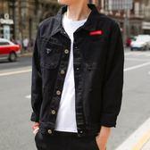 丹寧春夏新款韓版修身黑色薄款牛仔外套男青年帥氣潮流工裝夾克外套 藍嵐