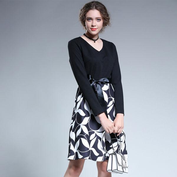 中大尺碼~知性性感V領簡約袖口長袖洋裝(2XL/4XL)