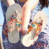 人字拖 女士中跟厚底坡跟防滑夏季夾拖涼拖鞋波西米亞沙灘鞋 BT3870【花貓女王】
